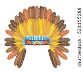 indian headdress with feathers... | Shutterstock .eps vector #521155288