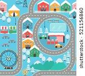 lovely snowy city landscape car ... | Shutterstock .eps vector #521156860