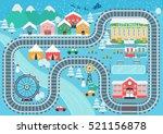 lovely snowy city landscape... | Shutterstock .eps vector #521156878