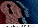 human head with lock hole in... | Shutterstock . vector #521170240