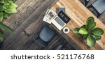 laptop office wooden table... | Shutterstock . vector #521176768