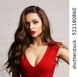 young beautiful pretty woman... | Shutterstock . vector #521180860