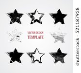 stamps collection. grunge stars ... | Shutterstock .eps vector #521187928