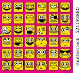 square stylized smileys faces ... | Shutterstock . vector #521193880