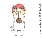 Stock vector funny cute white cat drinking from coconut wearing headscarf and pineapple glasses 521196244