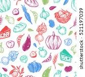 kitchen seamless pattern.... | Shutterstock .eps vector #521197039