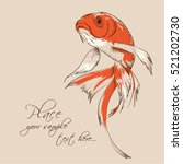 goldfish painted in vintage... | Shutterstock .eps vector #521202730