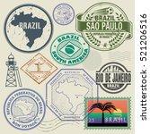 travel stamps or symbols set ... | Shutterstock .eps vector #521206516