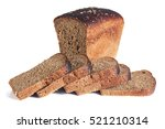 Small photo of dark bread on white background isolate
