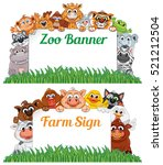 farm and zoo animals with blank ... | Shutterstock .eps vector #521212504