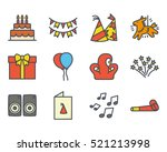 party icon set colored filled... | Shutterstock .eps vector #521213998