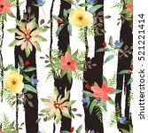 illustration of floral seamless.... | Shutterstock . vector #521221414