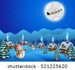 baground christmas with snowman | Shutterstock . vector #521225620