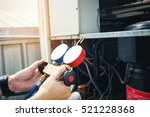 technician is checking air... | Shutterstock . vector #521228368