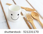 Happy Cup With Smiley Forks An...