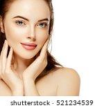 beautiful woman face close up...   Shutterstock . vector #521234539