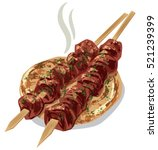 Illustration Of Grilled Meat...