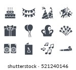party icon solid glyph pack set ... | Shutterstock .eps vector #521240146