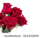 Stock photo bouquet red roses flower in glass bottle on isolated white background 521242054