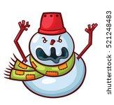 angry snowman cartoon | Shutterstock .eps vector #521248483