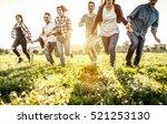 group of friends running... | Shutterstock . vector #521253130
