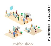 isometric interior of coffee... | Shutterstock .eps vector #521253559