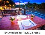 close up of outdoor restaurant... | Shutterstock . vector #521257858