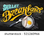 breakfast poster. fried eggs... | Shutterstock .eps vector #521260966