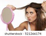 nervous young woman looking...   Shutterstock . vector #521266174