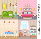 illustration set room interiors ... | Shutterstock . vector #521271313