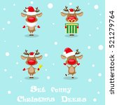 Set Funny Santa's Deers ...
