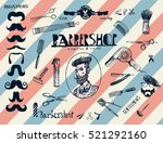 hand drawn hairdressers... | Shutterstock .eps vector #521292160