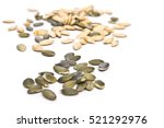 pumpkin seeds on a white... | Shutterstock . vector #521292976