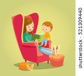 mom reading for little son | Shutterstock .eps vector #521309440