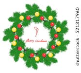 spruce wreath with christmas... | Shutterstock .eps vector #521317960