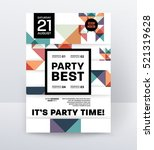 invitation disco party poster... | Shutterstock .eps vector #521319628