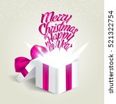 open gift box with a pink bow.... | Shutterstock .eps vector #521322754