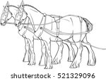 coloring page. two horses in... | Shutterstock .eps vector #521329096