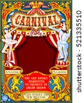 circus juggler crazy show retro ... | Shutterstock . vector #521335510