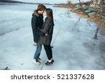 young beautiful couple on the... | Shutterstock . vector #521337628