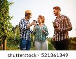 happy wine growers tasting wine ... | Shutterstock . vector #521361349