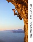 rock climber on overhanging... | Shutterstock . vector #521361463