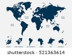blue world map vector on white... | Shutterstock .eps vector #521363614