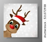 reindeer with red nose and... | Shutterstock .eps vector #521372938