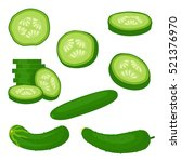 fresh cucumber sliced slices... | Shutterstock .eps vector #521376970