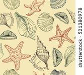 seashells  starfish  marine... | Shutterstock .eps vector #521380978