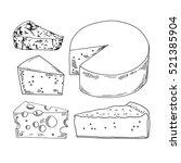 hand drawn cheese vector set. | Shutterstock .eps vector #521385904