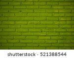 Pattern Of Green Brick Wall...