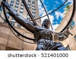 Small photo of The Statue of Atlas holding the celestial spheres in New York City's Fifth Avenue