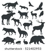 Stock vector collection of vector detailed silhouettes of forest animals 521402953